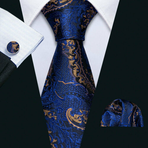DE Blue Paisley Herren Krawatte Silk Golden Ties Einstecktuch Manschettenknöpfe