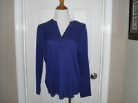 Chico's Pieced Quincy Top/blouse Size 2 (12-14) Carbon Blue Long Sleeve