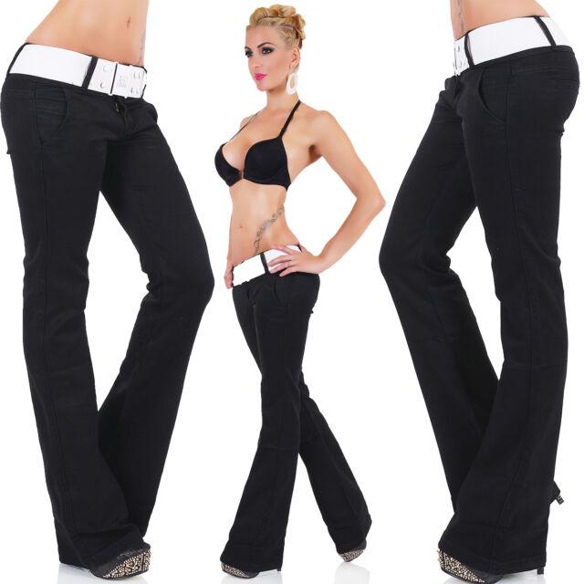 Women's Stretch Black Bootcut Stretch Pant + Belt - XS / S / M / L / XL