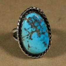 Old Pawn Vintage NAVAJO Morenci Turquoise Sterling MENS Handmade Ring Size 10
