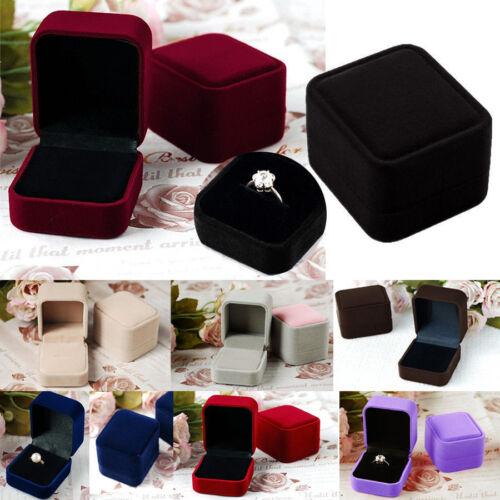 Solid Velvet Engagement Wedding Earring Ring Pendant Jewelry Display Box Gift
