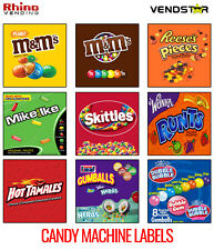 9 Candy Vending Machine Stickers Labels 25 X 25