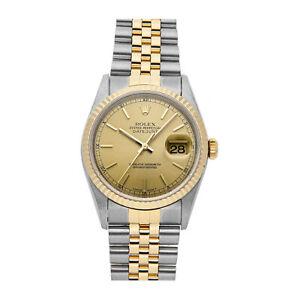 Rolex Datejust Automatico Acciaio Giallo Oro Da uomo Orologio linea del Giubileo 16233