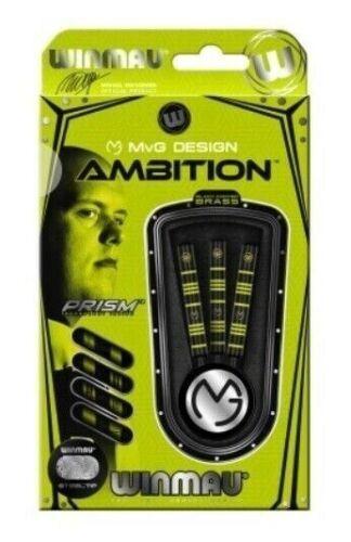 Winmau MVG Ambition Ringed Grip Black Coated Brass Steel Tip Darts 24 Grams