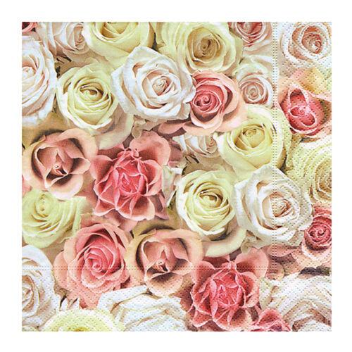 Serviettes Festive roses 20stk Papier Serviettes Lunch Serviettes cérémonie de mariage
