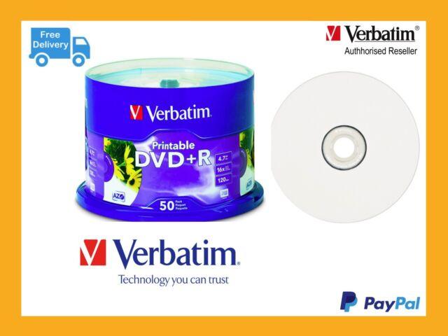 ($0 P & H) Genuine Verbatim Blank DVD+R 4.7GB 50Pk White Inkjet 16x 95136