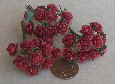 1:12 Scale 3 Bunches Of Pink Paper Roses Tumdee Dolls House F 30 Flowers