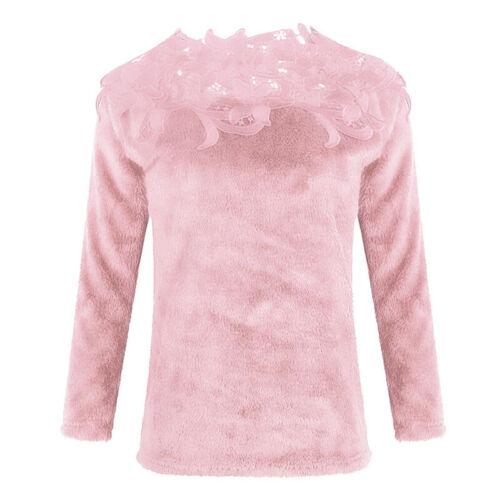 Damen Tops Bluse Warm Freizeit Pullover Sweatshirt Langarm Rundhals Spitze Lot