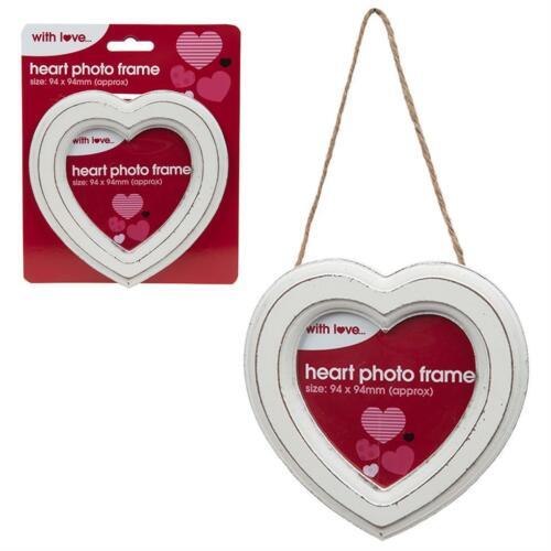 Hanging Decoration White Heart 13.5cm Photo Frame Wedding Valentines Day