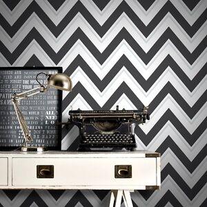 Image Is Loading Scala Black And White Zigzag Wallpaper Modern Large