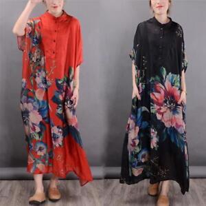 6d1aa181bf Vintage 100% Silk Loose Caftan Fit Maxi Lagenlook Womens Long Dress ...