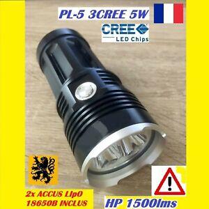 LAMPE-TORCHE-LED-PL-53-3CREE-HP-1500Lm-4V-5W-100m-MULTIFONCTION-ETANCHE-ANTICHOC