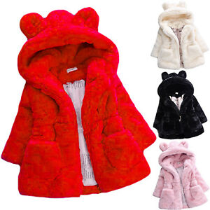 febbfbe9e9b1 Kids Girls Faux Fur Fleece Bunny Ears Coat Winter Warm Hooded Jacket ...