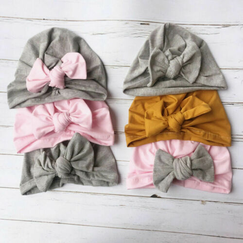 New Baby Caps Beanie Boys Girls Toddler Infants  Bowknot Cotton Soft Knot Hats