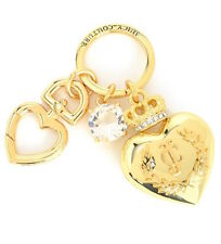 Juicy Couture Key Ring fob Purse Charm BIG Crowned Heart Goldtone NEW