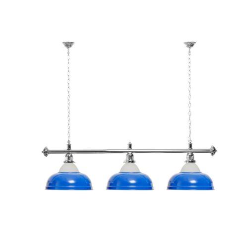silberfarbene Halterung Billardlampe 3 Schirme blau mit Glas
