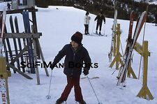 KODACHROME 35mm Slide Japan? Cute Boy Man Skiing Snow Hats Gloves Fashion 1972!