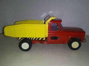 Vintage-Tonka-Jeep-Dump-Truck-Pressed-Steel-Toy-Vehicle-w-Dump-9-5-034