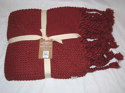 West Elm Chili Hand Knit Chunky Tassel Blanket Throw New