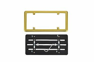 License Plate Bumper Mounting Holder Adapter Tag Bracket + GOLD Frame for NISSAN