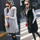 New Women Fur Vest Winter Warm Hooded Long Fit Waistcoat Sleeveless Coat Outwear