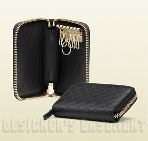 96bb748461d Image is loading GUCCI-black-MICROGUCCISSIMA-embossed-Leather-KEY-Holder -ZIP-