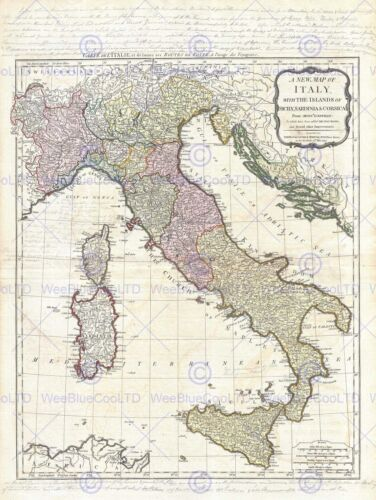 GEOGRAPHY MAP ILLUSTRATED ANTIQUE D/'ANVILLE ITALY POSTER ART PRINT BB4304B