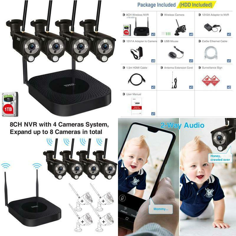 [3Mp2 Way AudioExpandable] Tonton Security Camera System Wireless,8Ch Nvr Reco