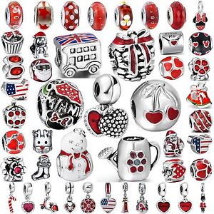 Hot-Women-Red-Jewelry-Bead-Fine-Silver-Charms-Fit-925-Sterling-Bracelets-Bangles