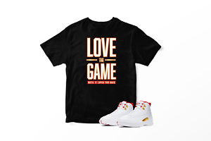 Love-The-Game-Graphic-T-Shirt-To-Match-Jordan-12-Retro-Fiba-100-Cotton-Urban