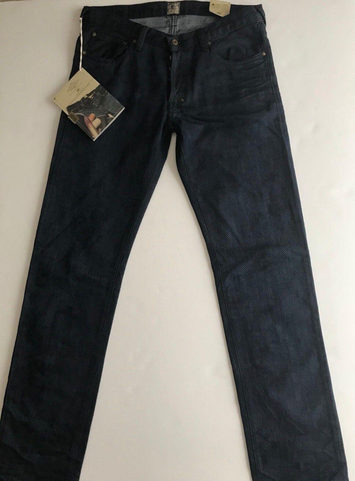 Nwt Prps Goods & Co Sz34 Rambler Nadelstreifen Hautenge Jeans Dunkles Indigoblau