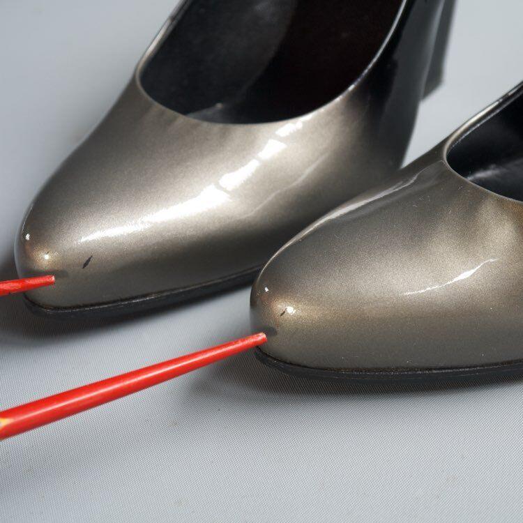 Prada Plata 2 Azul Negro Azul 2 gris Degradado Charol Zapatos Taco Alto cubano de la bomba 36 EE. UU. 6 6c63dc