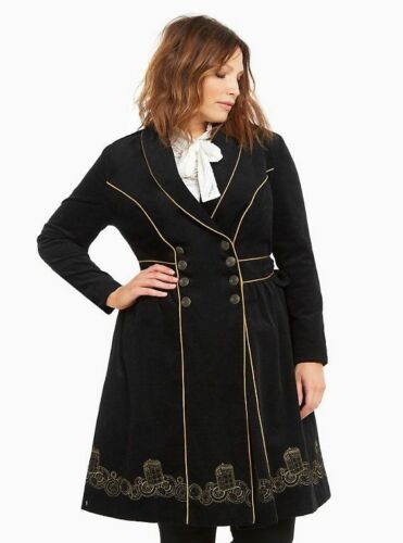 Doctor Who Plus Size 1X 3X 4X Tardis Embroidered Black Corduroy Trench Coat
