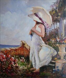 Quality-Hand-Painted-Oil-Painting-Repro-Summer-Parasol-20x24in