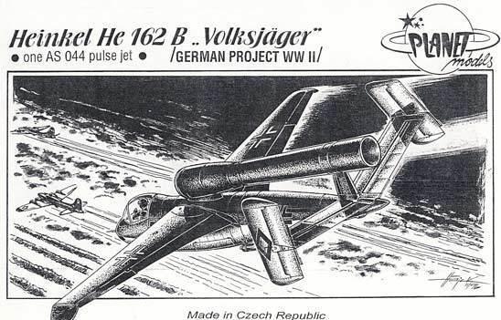 Planet Modelos Heinkel He-162 B con un como 044 Motor Pulse Chorro 1 72