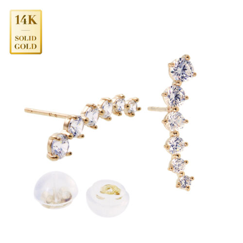 14K REAL Solid Gold Cubic Zirconia Climber Stud Push-back Earring for celebrate