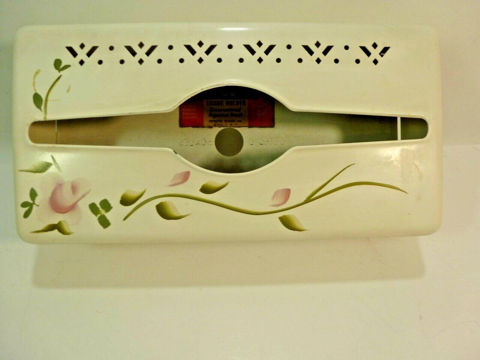 Vintage DETECTO Tissue Holder/ Hand Painted (White/Ivory)