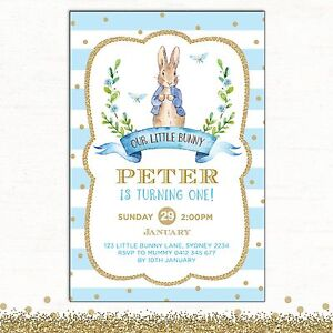 Peter Rabbit Invitation 1st Birthday Blue Gold Baby Shower Party