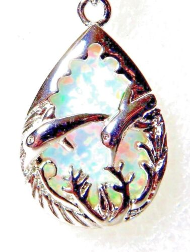 Silver 925 SF Pendant White Lab Fire Opal DOLPHINS IN THE SEA