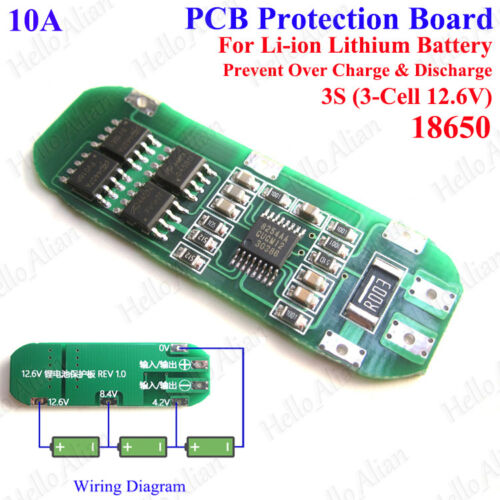 3S Li-ion Lithium Battery Cell 18650 Charger BMS Protection PCB Board 12.6V 10A