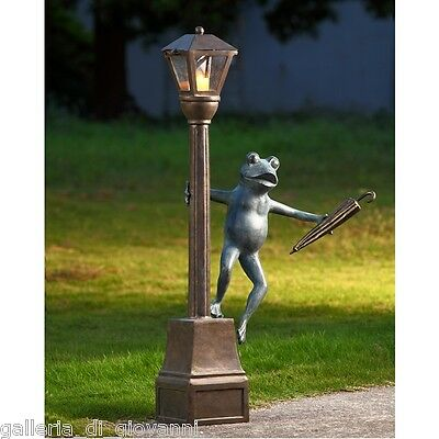 "41"" TALL Frog Streetlight Lantern Sculpture Statue Yard Garden Decor Whimsical *"