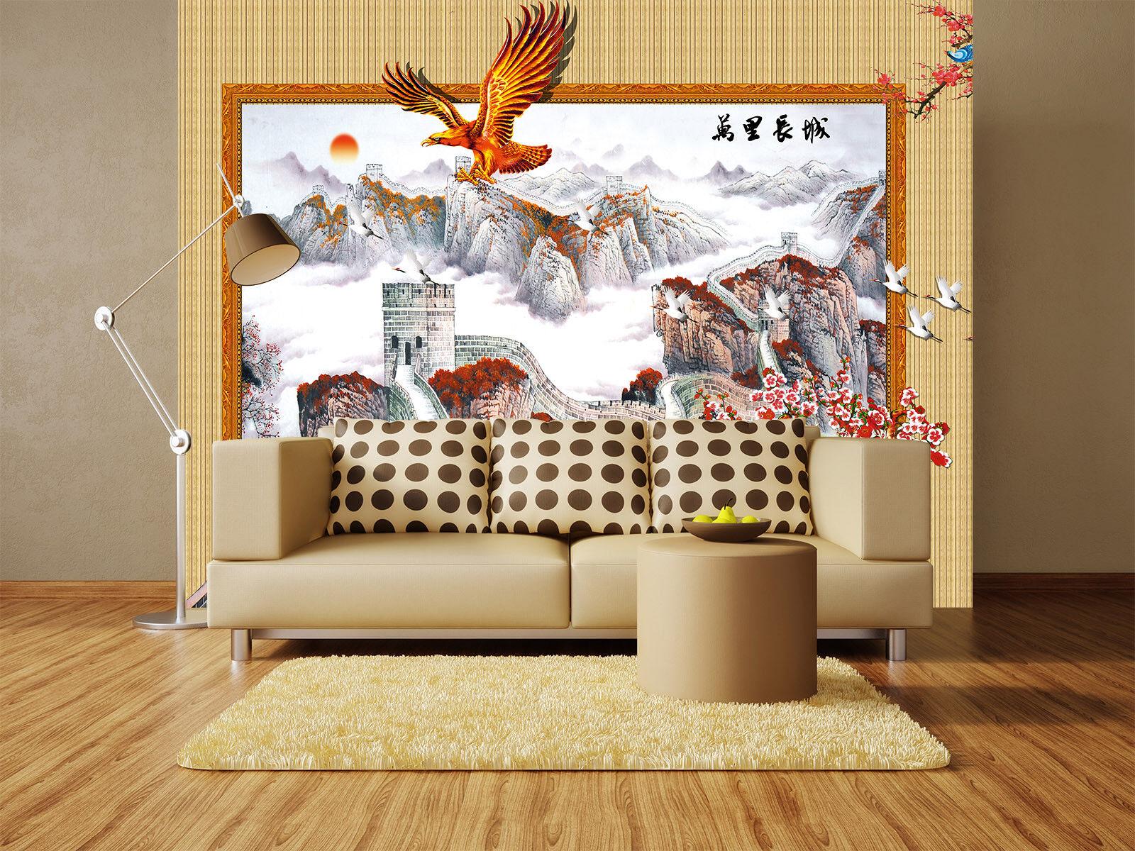 3D Große Mauer Adler 75 Tapete Wandgemälde Tapete Tapeten Bild Familie DE Summer