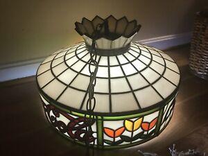 Coca Cola 70's Tiffany Style Tulip Lamp W/ Original Globe 15' Chain for Hanging
