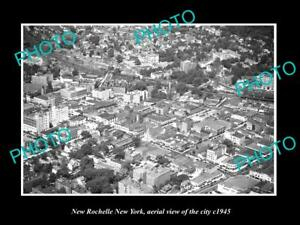 OLD-LARGE-HISTORIC-PHOTO-OF-NEW-ROCHELLE-NEW-YORK-AERIAL-VIEW-OF-CITY-c1945-2