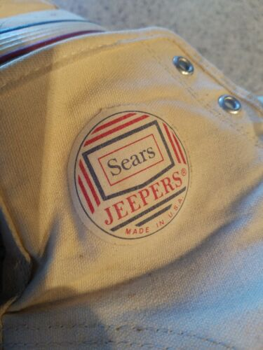 Vintage 1960s Sears Jeepers White Canvas Basketbal
