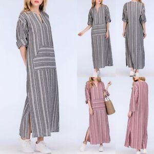 Plus-Size-Womens-Casual-Linen-Baggy-Loose-V-neck-Long-Maxi-Dress-Kaftan-Dress