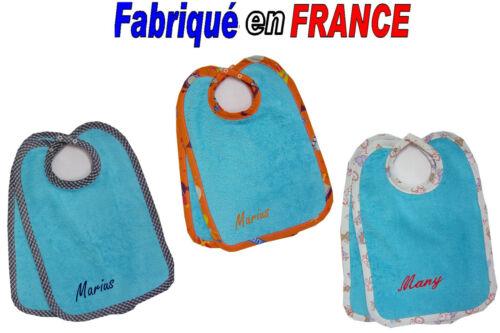 Lot de 2 ou 4 BAVOIRS Prénom Brodé NEUF- Ref.bleu Mixte Marque Ghimi