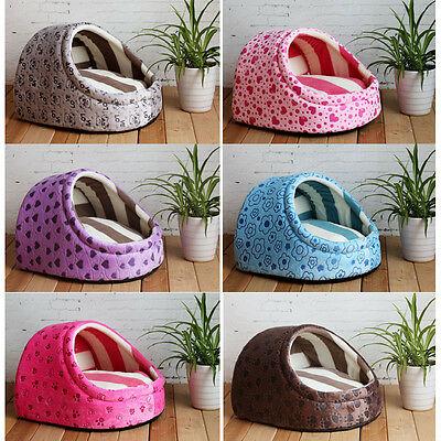 New Candy Colors Pets Semi-enclosed Shape House Dog Cats Soft Kennel Bed House