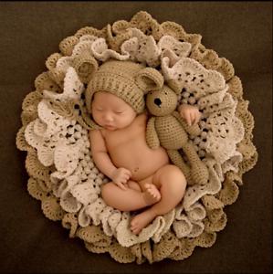 Crochet Newborn Photography Boys Girls Bear Star Knit Hat Cap Baby Photo Props