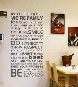 IN THIS HOUSE WE RE FAMILY Wall Window Sticker Decor Home UK RUI - Window stickers for home uk